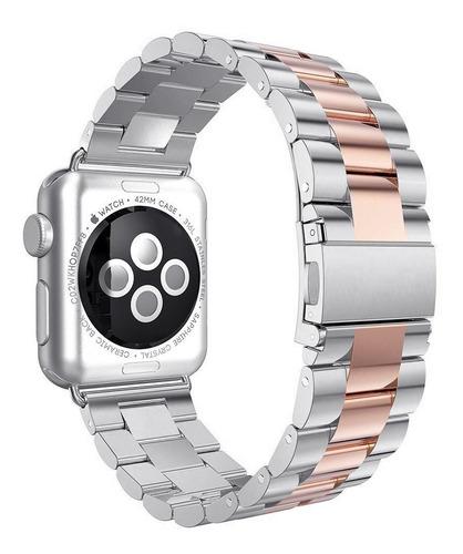 correa de eslabones de lujo para apple watch + mica y case