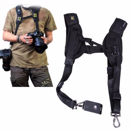 correa de hombro doble strap para 2 cámaras dsrl canon nikon