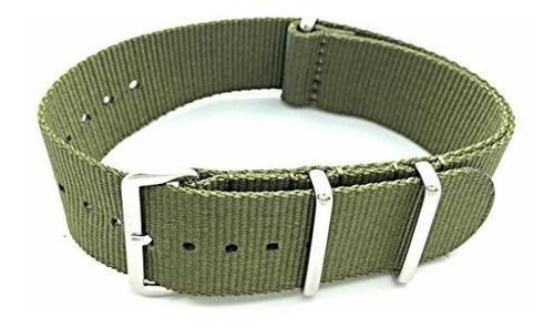correa de reloj de tela de nailon estilo nato de 24 mm verde