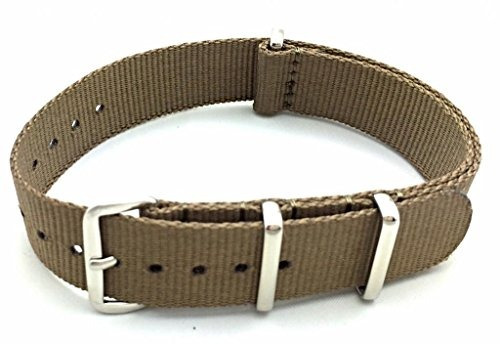 correa de reloj de tela de nylon de 18 mm estilo otan caqui