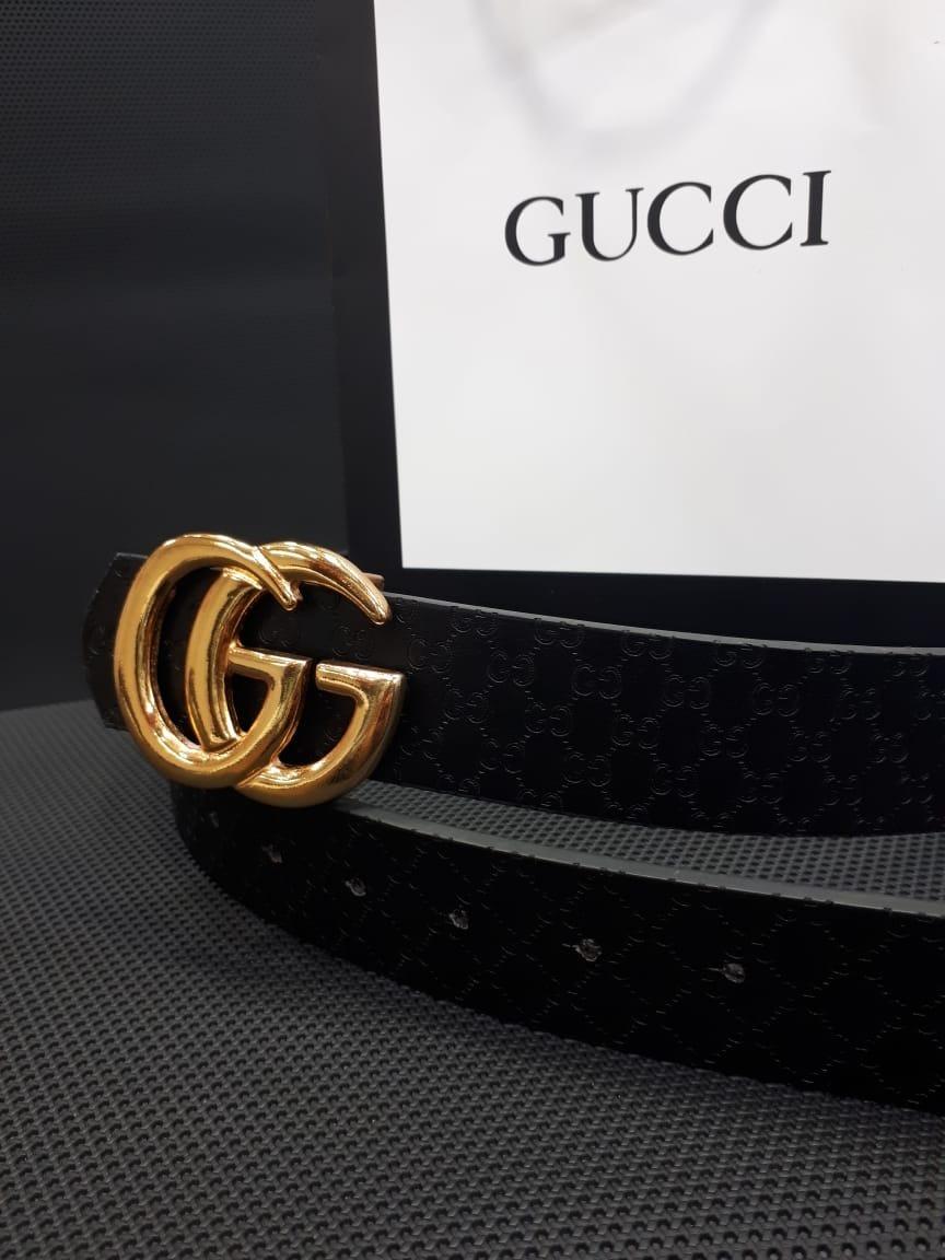 17498f128 Correa Negra Cinturon Gucci Negro Hebilla Dorada Mujer - $ 70.000 en ...