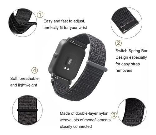 correa malla de reloj / smartwatch nylon con abrojo 22mm