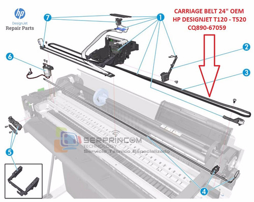 correa plotter hp t120 - t520 24 pulgadas original nueva