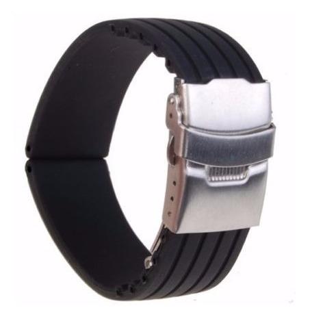 correa reloj resina negra 20mm universal broche acero inox