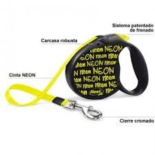 correa retractil flexi neon alemana small 12kg 5m