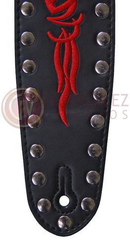 correa stagg sll 21 blk cuero tribal para guitarra / bajo