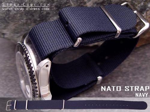 correas de reloj nylon nato straps 20mm azul navy blue