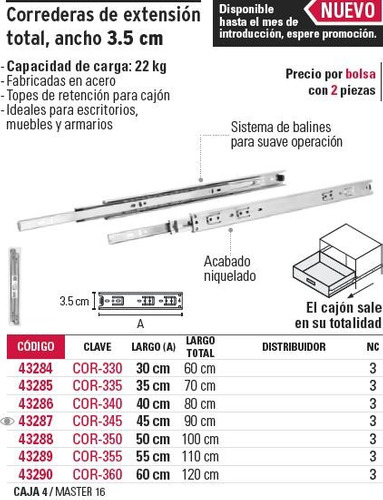 corredera extension total 3.5 cm x 60 cm hermex 43290