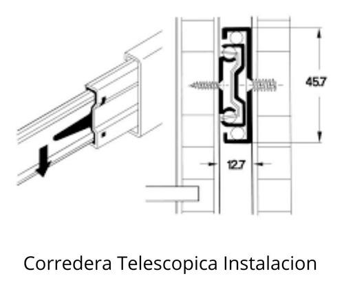 corredera telescópica 250 mm 25 cm cajón 45 kilos negra