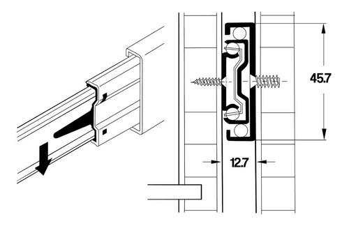 corredera telescópica 45 cm mueble casa zinc full hafele