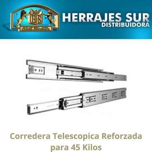 corredera telescópica 550 mm 55 cm cajón 45 kilos zincada
