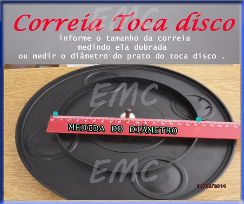 correia de toca disco vinil 23 cm prato 14 a 15 cm diametro