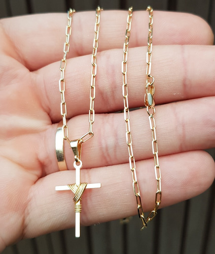 corrente 2mm 70cm com cruz banhados a ouro fecho mosquetão