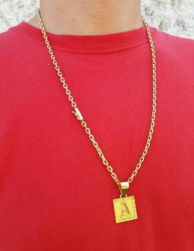 corrente 3mm 60cm com pingente de letra banhados a ouro 18k