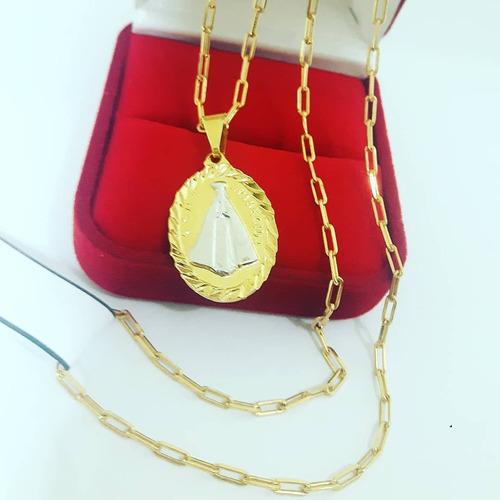 corrente 3mm banhada a ouro 18k cordão 60cm pinge n.s.a