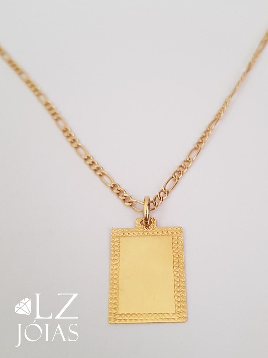corrente 3x1 com pingente placa plaquinha masculina ouro 18k. Carregando  zoom. 67b76069e2