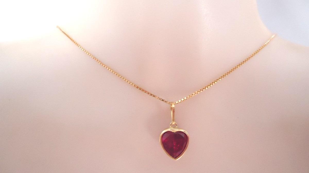Corrente 45 Cm E Pingente Coração Colorido Luxo Em Ouro 18k - R  330 ... d466057b69