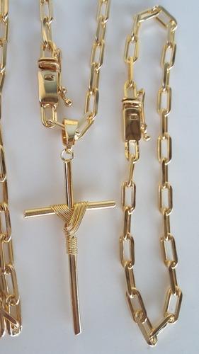 corrente 4mm 70cm pulseira e cruz banhados a ouro 18k