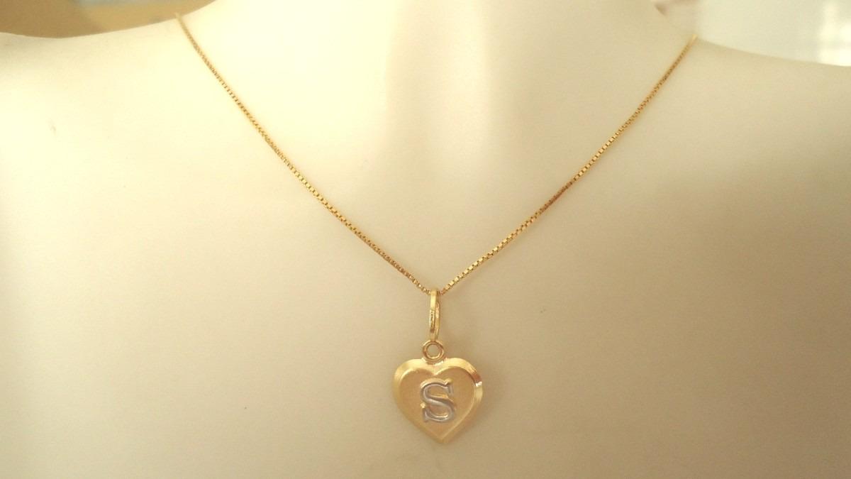 faf988cffc3fa Corrente 50 Cm Feminina Pingente Coração Letra Nome Ouro 18k - R ...