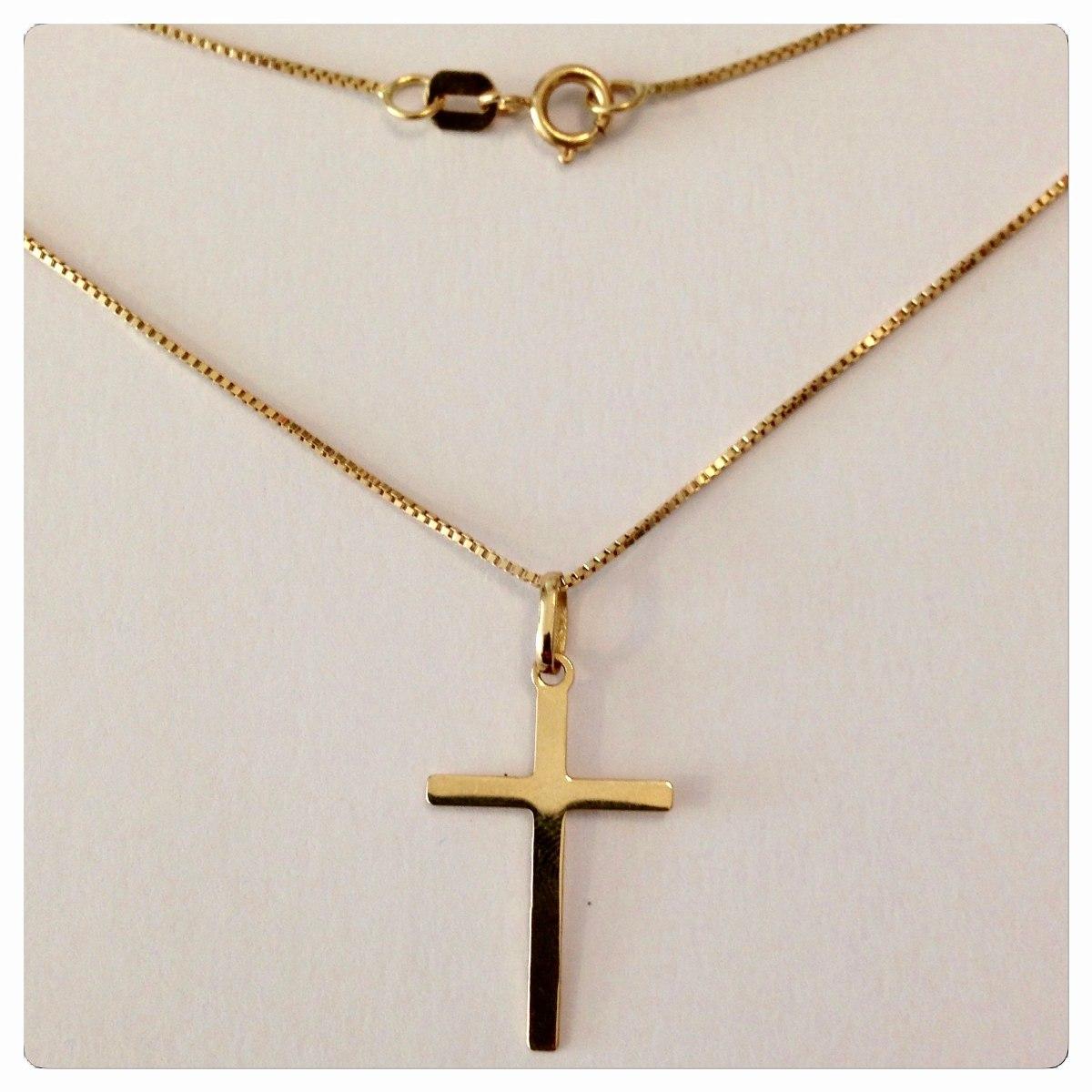 b403d72f117 Corrente 60cm 1.90grs Pingente Cruz Crucifixo Joia Ouro 18k - R  813 ...