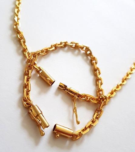 corrente 60cm + pulseira 9mm cadeado dg banhado a ouro