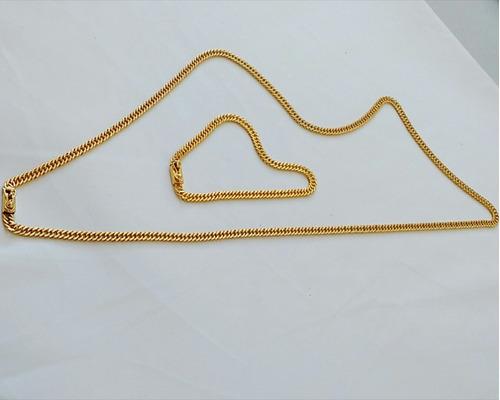 corrente 70cm + pulseira 5mm banhado a ouro - elos soldados