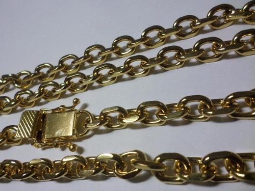corrente 9mm banhada a ouro - fecho gaveta trava tripla