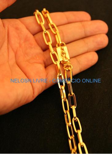 corrente banhada a ouro 70cm fecho de gaveta