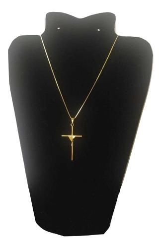 corrente banhada a ouro masculina com pingente crucifixo com nota fiscal em promoçao 70%off so hoje