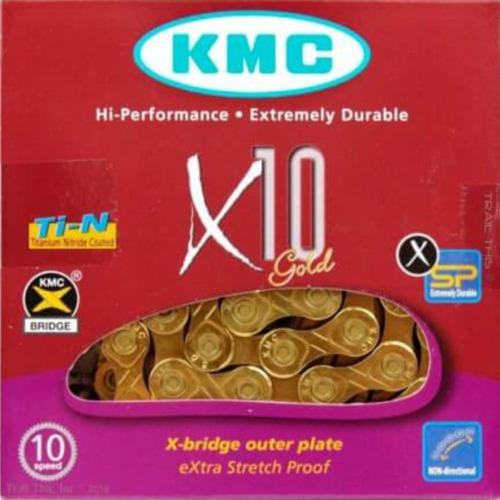 corrente bike kmc x10 gold dourada 116 elos 10v com link
