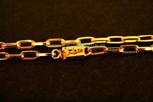 corrente cadeado 70cm banhado a ouro - fecho de gaveta