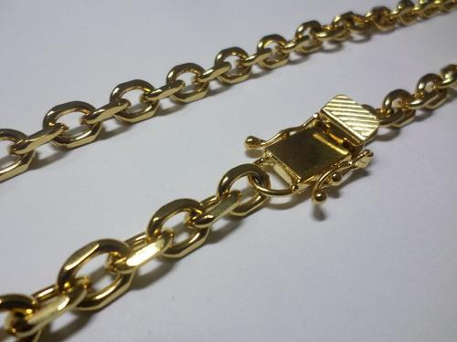 corrente cadeado 9mm banhada a ouro - fecho trava tripla
