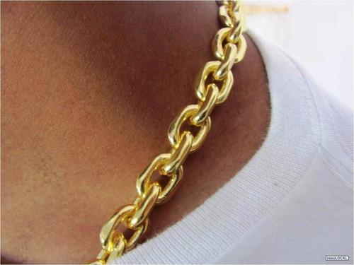 corrente cadeado folheado ouro 6mm 60cm certificado ref 302