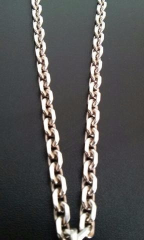 corrente cadeado masculina prata 925 grossa 80cm 9mm f/gavet