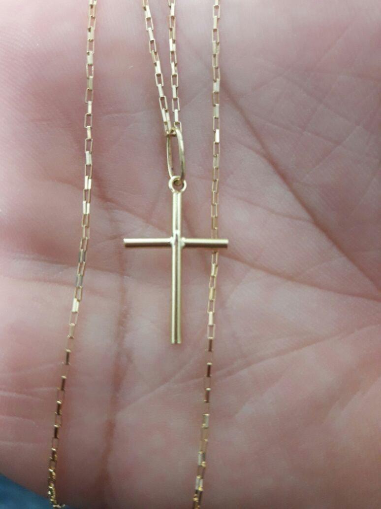 af27473ff6b corrente cartier 60cm masculino ouro 18k + pingente cruz. Carregando zoom.