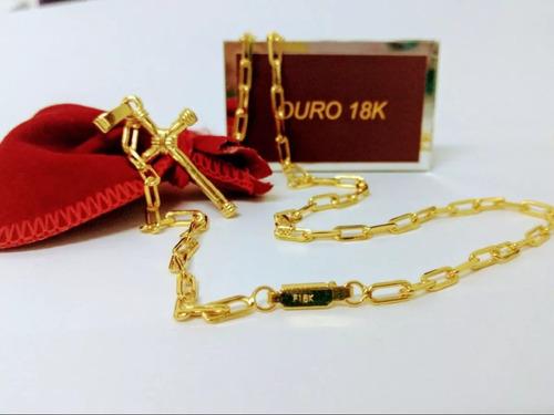 corrente cartier 80cm banhada a ouro 18k brinde 2 pingentes