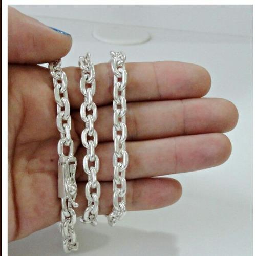 corrente cartier 80cm c/pingente ak 47 prata 950 fecho caixa