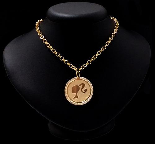 corrente choker medalha barbie stras tendência folheado ouro