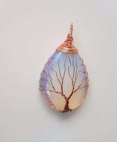 corrente colar árvore da vida pedra da lua símbolo da vida