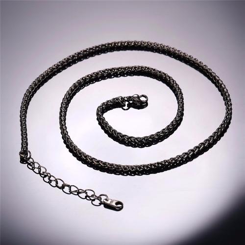 corrente colar codão em aço preto