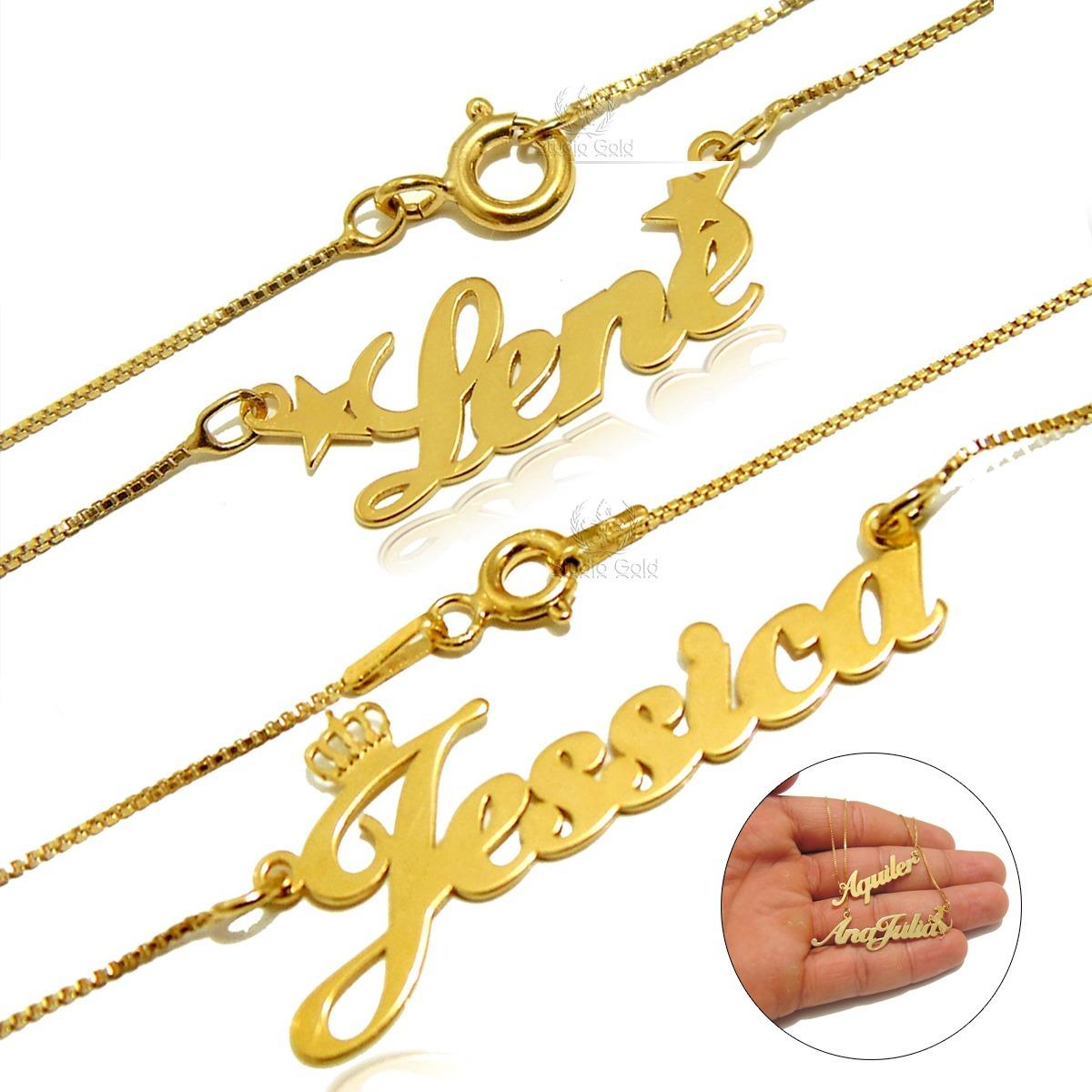 corrente colar com nome personalizado folheado a ouro 24k. Carregando zoom. a8d37f82ce