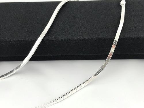 corrente colar cordão 3 mm 45 cm quadrada prata 925