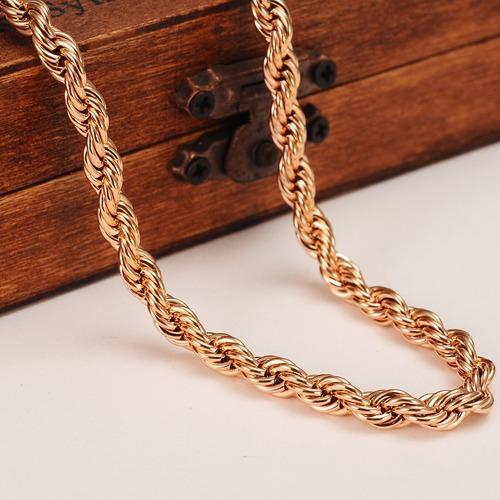 corrente colar cordão banhado a ouro rose 18k