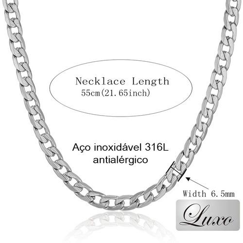 corrente colar cordão gargantilha aço inox banhado prata 950