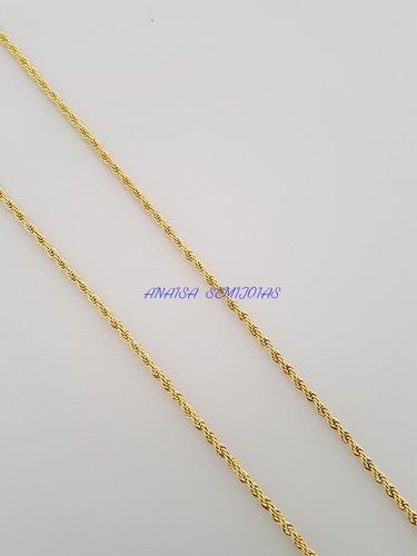 corrente colar cordão genova masculino banhado ouro 18k