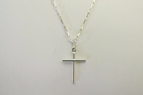 corrente , colar de prata 925 elos cartie + ping. crucifixo