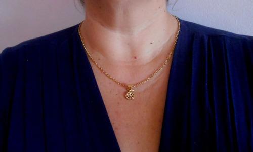 corrente colar feminino pingente maça folheados ouro