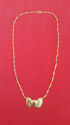 corrente - colar folheado a ouro - dois corações