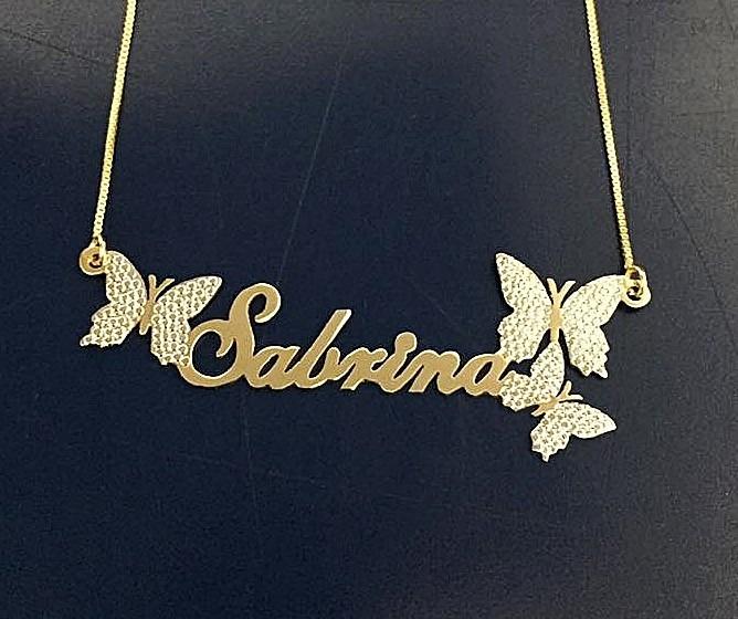 04d532432a847 Corrente Colar Nome Personalizado 3 Borboleta Ouro 18k - R  64