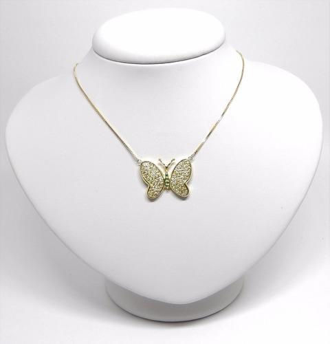 corrente colar ouro 18k pingente borboleta 88 diamantes
